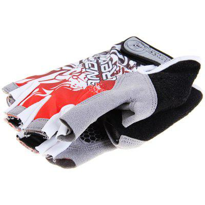Fashionable Handcrew L Size Elastic Half Finger Sports Gloves (Red and Gray)