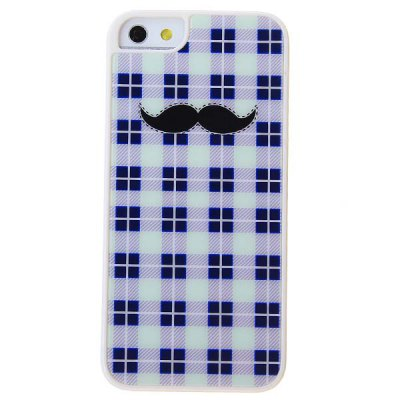 Stylish Cool Black Moustache Pattern Purple Lattice Hard Protective Case for iPhone 5