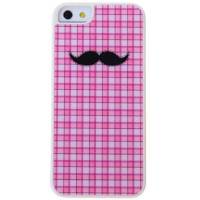 Stylish Cool Black Moustache Pattern Pink Lattice Hard Protective Case for iPhone 5