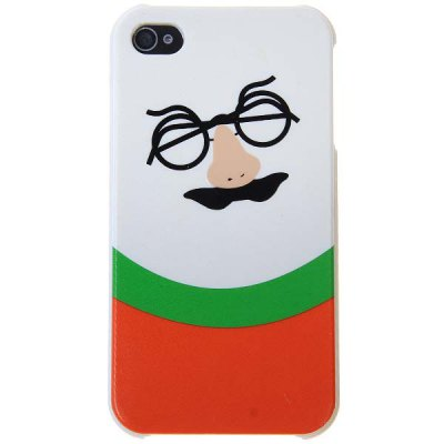 Novel Plastic Protective Case with Moustache Big Nose and Glasses Pattern for iPhone4/4S