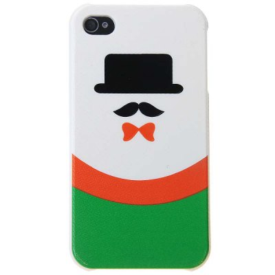 Fashion Plastic Case Hard Cover with Black Hat Moustache Pattern for iPhone4/4S