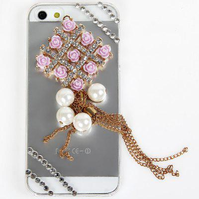 Popular 3D Pink Flowers Diamonds Plastic Clear Case for iPhone 5