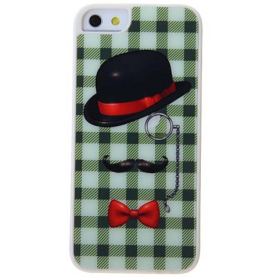 Novel Cool Monocle Moustache Hat Pattern Green Lattice Hard Protective Case for iPhone 5