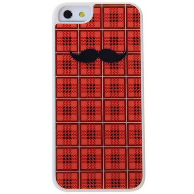 Fashion Plastic Case Hard Cover with Black Moustache Square Pattern for iPhone 5 - Jacinth