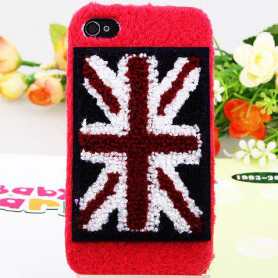 Luxe pluche High Quality UK patroon plastic behuizing voor de iPhone 4 / 4S - Rood