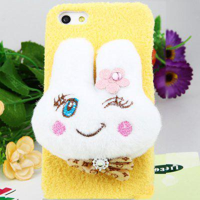 Delicate Impact Plush Stereo Rabbit Pattern Plastic Hard Case Cover for iPhone 4 / 4S - Yellow