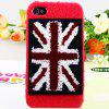 Luxury Plush High Quality UK Pattern Plastic Case for iPhone 4 / 4S - Red - RED