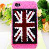 Luxury Plush High Quality UK Pattern Plastic Case for iPhone 4 / 4S - Pink - PINK