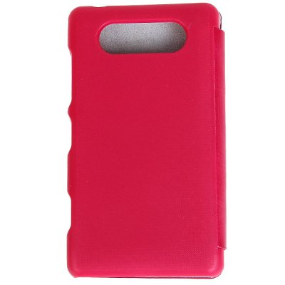 Fashion PU Leather and Plastic Cover Case for Nokia Lumia N820 - Dark Pink