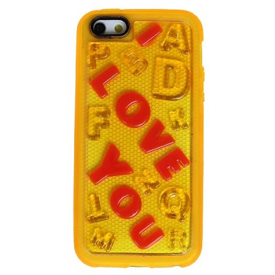 Popular I Love You Pattern Flexible Silicone Shockproof Case Cover for iPhone 5 - Yellow