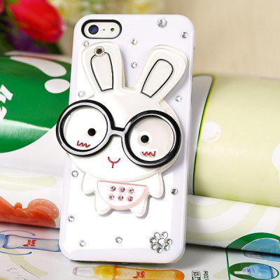 Cute Bespectacled Rabbit Pattern Diamonds Plastic Clear Case with Mirror for iPhone 5