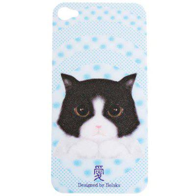 Beluks Stylish Cat Pattern Original 3D Removable Patch Back Skin for iPhone 4 / 4S - White and Skyblue