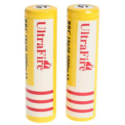 Refurbished UltraFire 18650 High Capacity 3.7V 5000mAh Li - ion Rechargeable Battery  -  2 - Pack, Yellow, without Protection Board