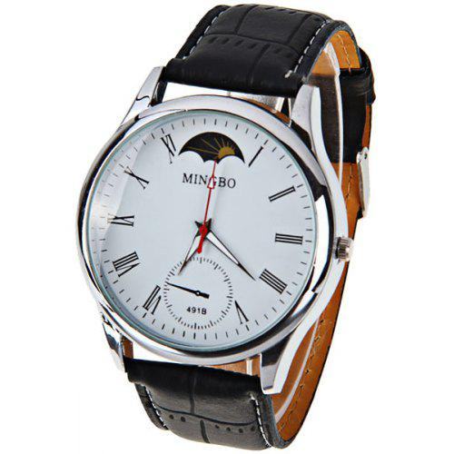 8be1cb09c MINGBO Quartz Watch with Roman Numbers Indicate Leather Watch Band for Men  - White | Gearbest