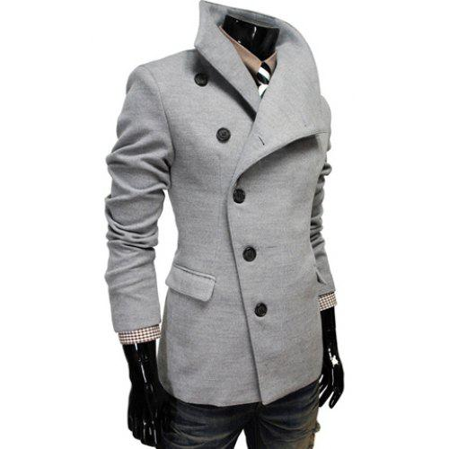 91747d265a80 Fashion Style Chic Turndown Collar Side Single-Breasted Long Sleeves Woolen  Coat For Men
