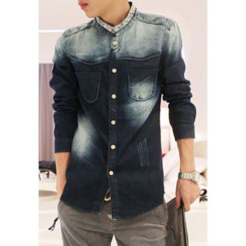 a910275084a Fashion Stand Collar Bleach Wash Ombre Tiny Floral Splicing Long Sleeves  Slimming Denim Shirt For Men -  40.91 Free Shipping