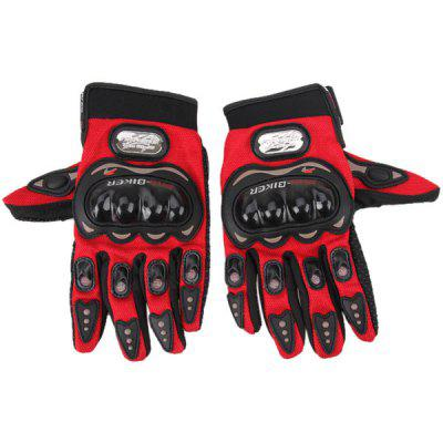 2 pcs Syn-leather Fabric Full Finger Bike/Bicycle/Motorcycle Windproof Gloves with Rubber Protective Pads
