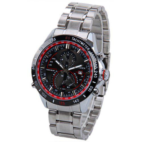 Curren 8149 Men Watch With Calendar And Two Small Decorating Hands Round Dial Steel Band
