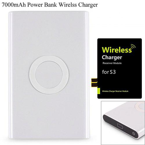 T-800 2 in 1 Qi Wireless Charger Transmitter Charging Pad and 7000mAh  Mobile Power Bank with Receiver for Samsung Galaxy S3 i9300 , Nokia Lumia  820 /