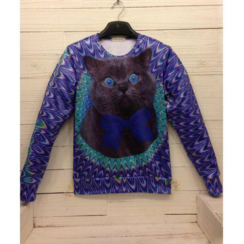 657404062709 Loose Fit Trendy Round Neck 3D Black Coffee Cat Pattern Long Sleeve Cotton  Sweatshirt For Men -  45.01 Free Shipping