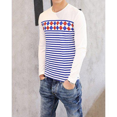 Korean Round Neck Argyle Print Stripes Splicing Long Sleeves Cotton