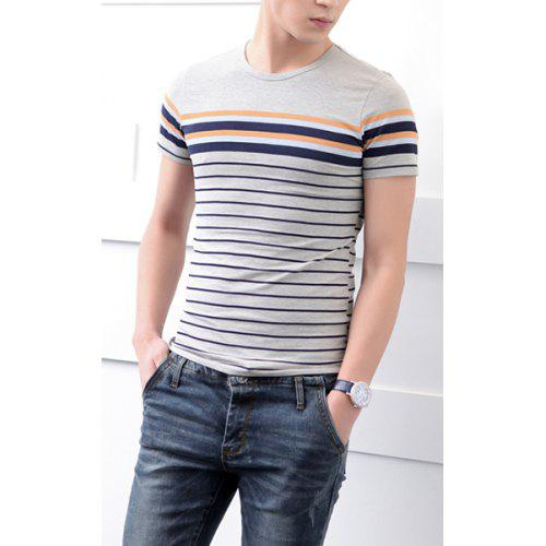 Korean Style Round Neck Stripes Splicing Short Sleeves Cotton T
