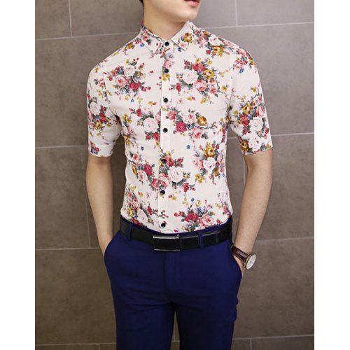 c920498a8dc6 Vintage Shirt Collar Floral Print Slimming Half Sleeves Polyester Shirt For  Men | Gearbest