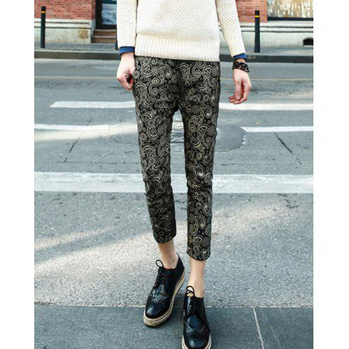 Korean Style Slimming Full Floral Print Narrow Feet Polyester