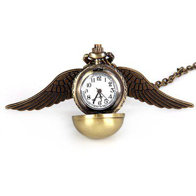 Montre à Quartz de Poche Populaire Snitch Steampunk Locket Ball Enchanté avec Double Face en Laiton Collier en Ailes