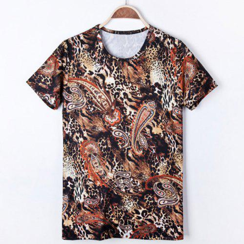 Fashion Style Round Neck Slimming 3D Cashew Print Leopard Design Short  Sleeves Men s T-Shirt 7e84ad01616