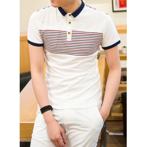 FreelyMen Casual V Neck Striped Solid-Colored Leisure Knitting Sweater