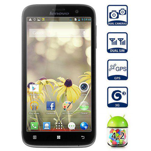 Lenovo A850 Android 4 2 3G Smartphone MTK6582 Quad Core 1 3GHz 1GB RAM 4GB  ROM GPS With 5 5 inch QHD Screen (Black)