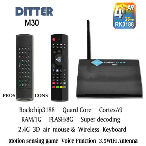 Ditter M30 RK3188 Quad Core Multimedia Android 4 2 Smart TV Box Network  Media Player Support 1080P ( 1GB RAM 8GB ROM )