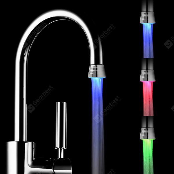 Romantic RC - F1101 LED Light Handle Facuet Glow Tap Sink with Temperature Control Sensor - RGB Color