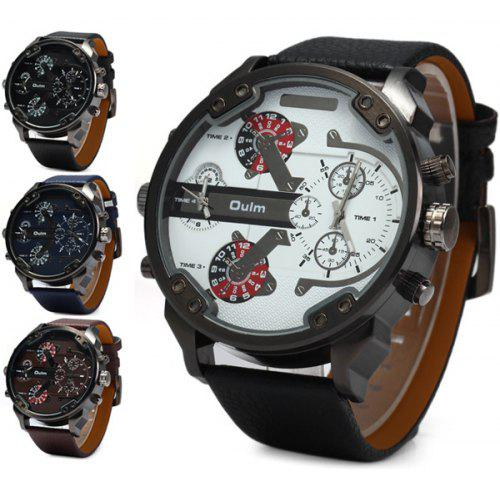 170f8e44c38 Oulm 3548 Double Time Zones Quartz Watch with Leather Band Round Dial for  Men