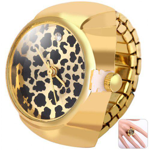 b8c1516343c BOZHI Flip Finger Ring Watch Leopard Print Elastic Band Analog Alloy Body