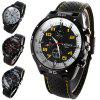 Weijieer 5020 Analog Quartz Watch Rubber Band Round Dial for Men - YELLOW