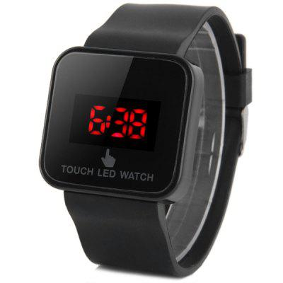 LED Touch Screen Uhr Red Untertitel Rechteck Dial Rubber Band