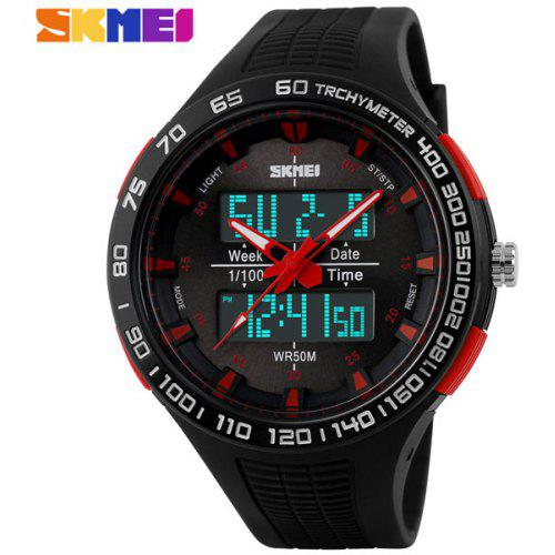 Skmei 1066 Multifunctional LED Military Watch Double Display Alarm  Stopwatch Water Resistant 93b9bf2acf6