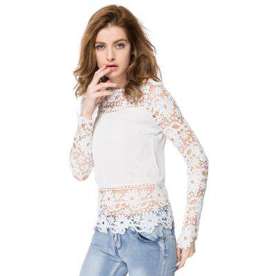 Stylish Round Neck Long Sleeve Spliced Hollow Out Womens Blouse