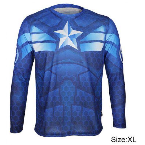 deaaea346 Arsuxeo Breathable Men Cycling Jersey Long Sleeve T - shirt Captain America  Style Thermal Transfer Sports Running Clothes -  17.94 Free  Shipping