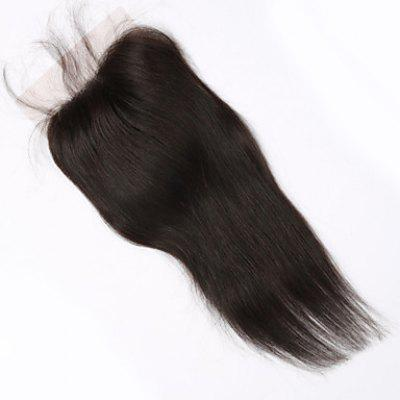 Silky 10 Inch Brazilian Human Hair Lace Closure Free Part Natural Color Women's Straight Hair Top Closure