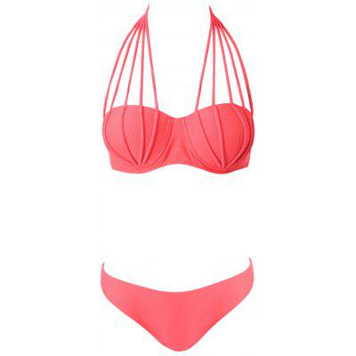 Sexy Style Halter Neck Solid Color Tie-Up Bikini For Women цена 2017