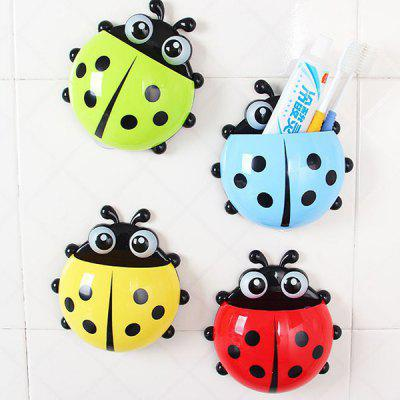 Multi - function Ladybird Pattern Design Wall - sucking Toothbrush / Toothpaste Holder