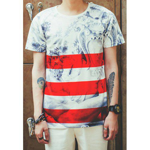 Fashion Round Neck Slimming 3D Statue and Stripe Print Short Sleeve Cotton  Blend T-Shirt e8e471b6b03