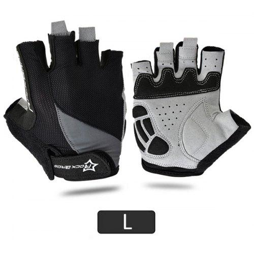 RockBros Cycling Pad Half Short Finger Outdoor Sporting Breathable Gloves Gray