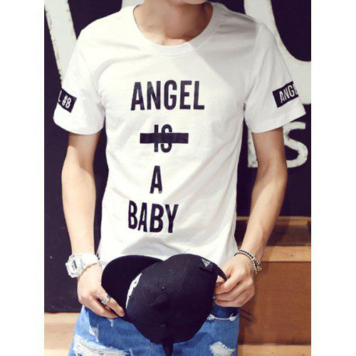 Stylish Round Neck Fitted Letter Print Color Block Short Sleeve Cotton  Blend T-Shirt For a12328f4457