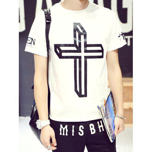 cac071e495b0 Stylish Round Neck Fitted Stereo Cross Print Short Sleeve Cotton Blend T- Shirt For Men