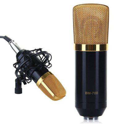 Refurbished BM-700 Condenser Sound Recording Microphone and Plastic Shock Mount for Radio Broadcasting Studio Voice Recording