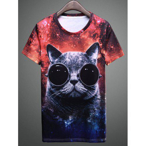 19518efb Summer Hot Sale 3D Funny Animal Big Face Cat Print Round Neck Fitted Short  Sleeves Men's